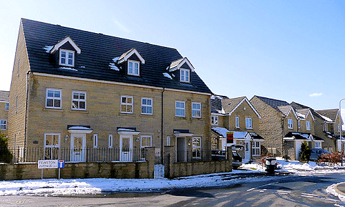New houses in the snow near Henley, Oxfordshire